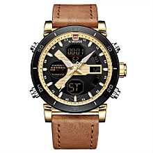 Men Quartz Fashion Casual Sports Wristwatch Dual Time Analog Digital Display Watch 3ATM Water Resistant Leather Strap Backlight Watches