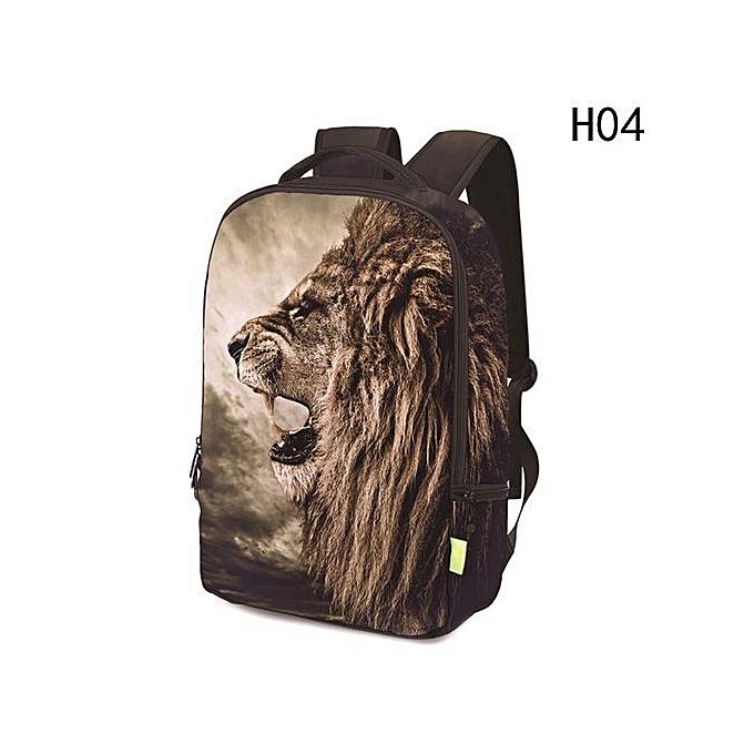 e4c67abfe0e4 Women Men 3D Lion Rainbow Clown Travel Satchel Backpack Rucksack Shoulder Bookbag  School Bag