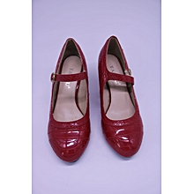 Wine Red Ladies Ankle Strap Court Shoes