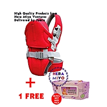 Red Baby Carrier With a Hood + Free Baby Wipes