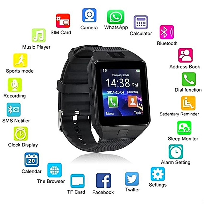 Hot Wearable Devices DZ09 Smart Watch Support SIM TF Card Electronics Wrist Watch Connect Android Smartphone DZ09 Smartwatch Black