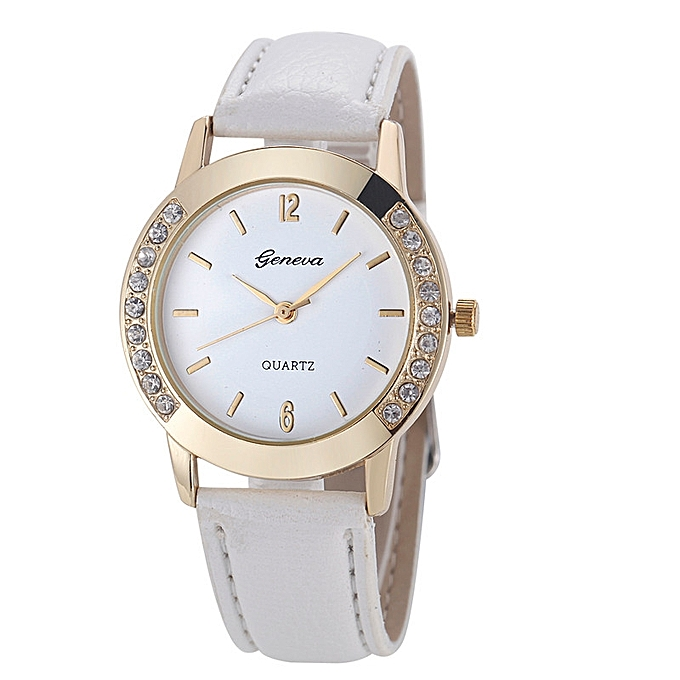 Henoesty Geneva Fashion Women Diamond Analog Leather Quartz Wrist Watch Watches  White