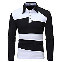 Men's Long Sleeve Polo Shirt Striped Autumn Winter Turn-Down Collar
