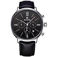 SKONE Brand Men's Genuine Leather Strap Sport Watches Multi-function Quartz Wristwatches 393203 JY-M