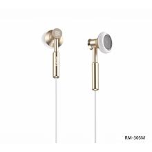 Remax RM-305M 3.5mm Metal Earphone Headphone Headset Stereo Bass Headphones Earphones Fone De Ouvido Micphone Mobile Phone MP3 PC