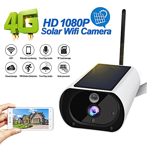 4G Outdoor Solar Powered Security Camera IP67 Waterproof 1080P Wireless  Surveillance Camera Cloud Storage Pre-Installed 64G Card(Camera With 64G  Card)