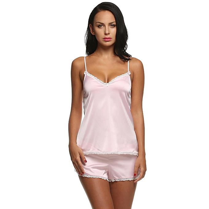 ee7c11657e Sunshine Women Summer Lace Satin Sleepwear 2 Piece Short Pajama Set ...