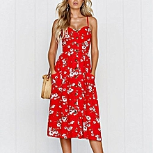 New Summer Women's Floral Print Sleeveless Shoulder-Straps Buttoned Backless Sexy Dress With 20 Colors Optional (Chili Red)