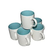 Ceramic Coffee Tea Drinking Mug Set of 6 - White & Light  Blue