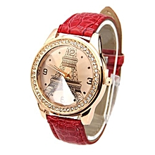Faux Women's Red Leather Strap Watch