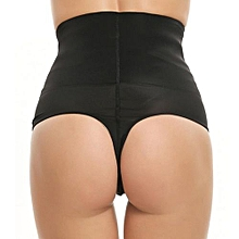 Waist Cincher Girdle Tummy Slimmer Sexy Thong Design Shapewear Panty ( Black )