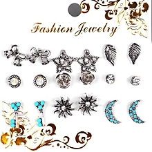 9Pairs/Set Tie Moon Star Leaves Crystal Key Stud Earrings For Women Vintage Boho Brincos Flower Clip Cuff Earring Set