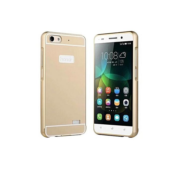best loved 8d088 b5c85 Moonmini Case For Huawei Honor 4C Metal Bumper Frame Case + Hard PC Back  Cover Protector (Golden)