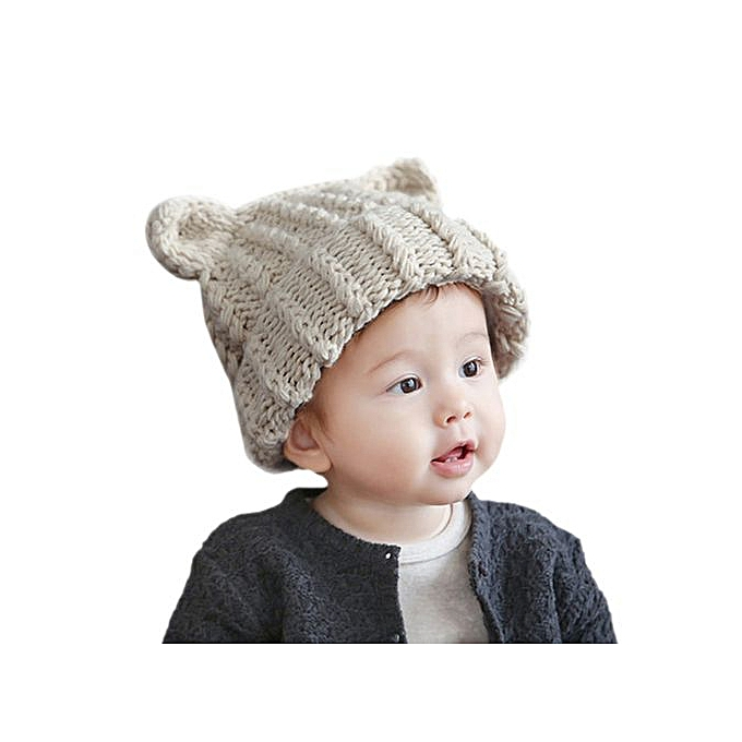 ad0b50a7a Braveayong Cute Baby Toddler Kid Elasticity Cat Ears Pattern Knitting  Beanie Cap Warm Hat - Beige