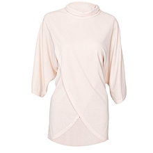 Apricot Turtle Neck Batwing Sleeve Top