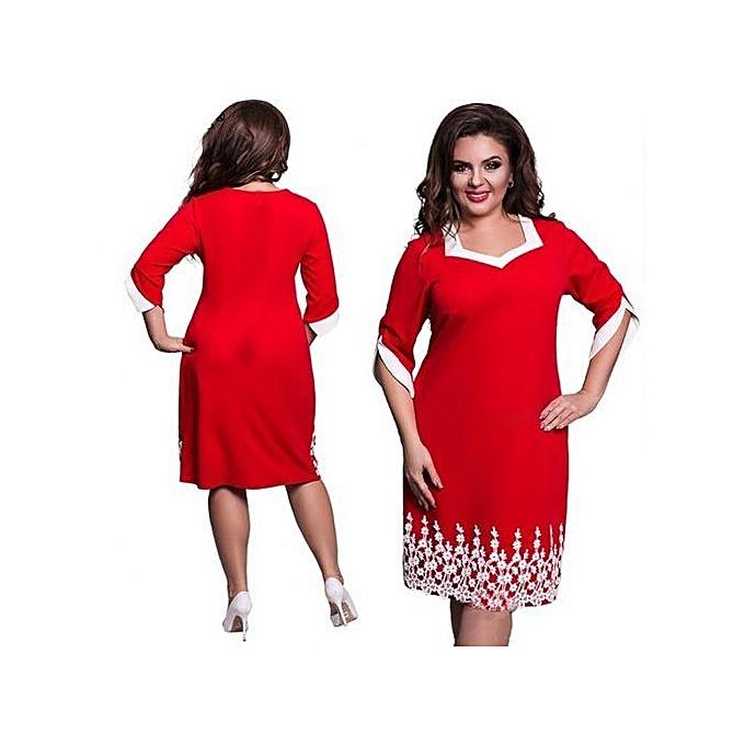 Refined Big Size Dress Mid-length Dress Middle Sleeve Lace Dress Elegant Women  Plus Size ff2a9b4e7