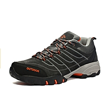 Autumn Winter Outdoor Men Hiking Mountain Climbing Shoes Warm Up Anti-skid Men Trekking Shoes Leather Sports Sneakers - Grey