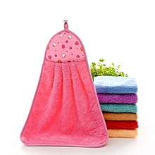 Hand Towel Soft Plush Hanging Wipe Bathing Towel PInk