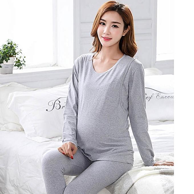 7b2211ee96fa1 (Maternity Tops+Pants) Pregnancy Breastfeeding Pajama Breast Feeding Sleepwear  Maternity Nursing Pajamas Set