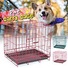 Dog Puppy Cat Pet Cage Kennel Collapsible Metal Crate w/Tray Portable Carrier 35*28*35cm
