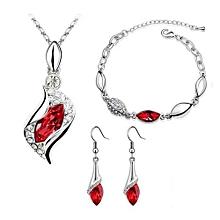 1Set Women Necklace Pendant Drop Earrings Bracelet Jewelry-Red