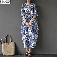 ZANZEA 2017 Womens Boho Floral Printed Short Sleeve Cotton Linen Maxi Long Dress Loose Baggy Casual Kaftan Vestido Plus Size (White)