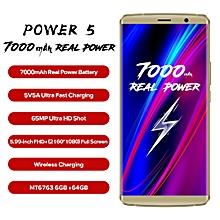 Power 5 5.99-inch (6GB, 64GB ROM) Android 8.1 Oreo, 7000mAh, 13MP & 5MP + 13MP, Dual Sim 4G LTE Smartphone - Gold