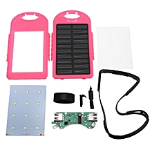 4000mAh Solar LED Portable Dual USB Power Bank External Battery Charger Box Case Pink
