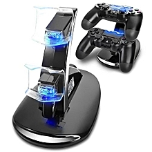 PS4 Controller Charger, Dual USB Charging Docking Station Stand with LED Lights - Black