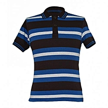 Blue Striped Mens Polo Shirts