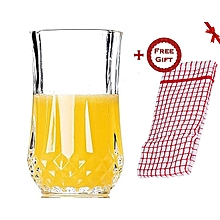 Redberry Crystal Bottom Highball Tumbler Glasses - Set of 6 + FREE Gift Kitchen Towel .
