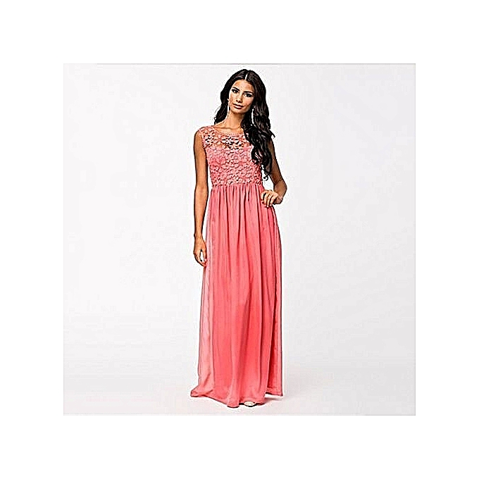 1dbd9bc629b92 Women's Elegant Backless Bridesmaids Dresses Hollow Out Lace Long Maxi  Evening Dress - Pink