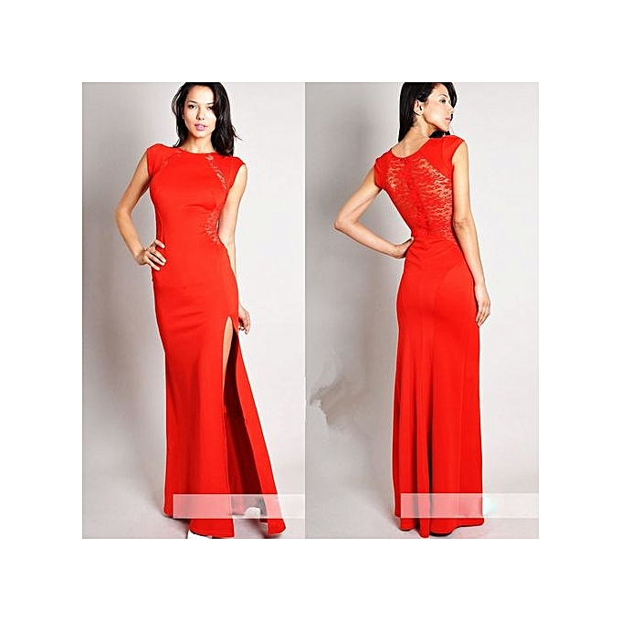 Buy Fashion Red Flowers Lace Evening Dresses Sleeveless Women Built ...