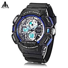 AK16127 Dual Movt Sport Watch Calendar Stopwatch Alarm Men Wristwatch-Blue-Blue