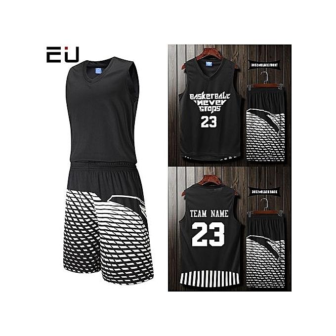 4d1f569231e Blank Customized Casual Men's Basketball Team Sport Jersey Uniform-Black (3052)