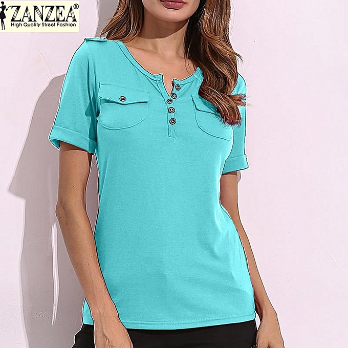 96c4d8e06a21 ZANZEA ZANZEA Women Summer Tee Tops Short Sleeve Casual Slim Fitted Ladies  V Neck Plunge T-shirts Oversize (LightBLue)