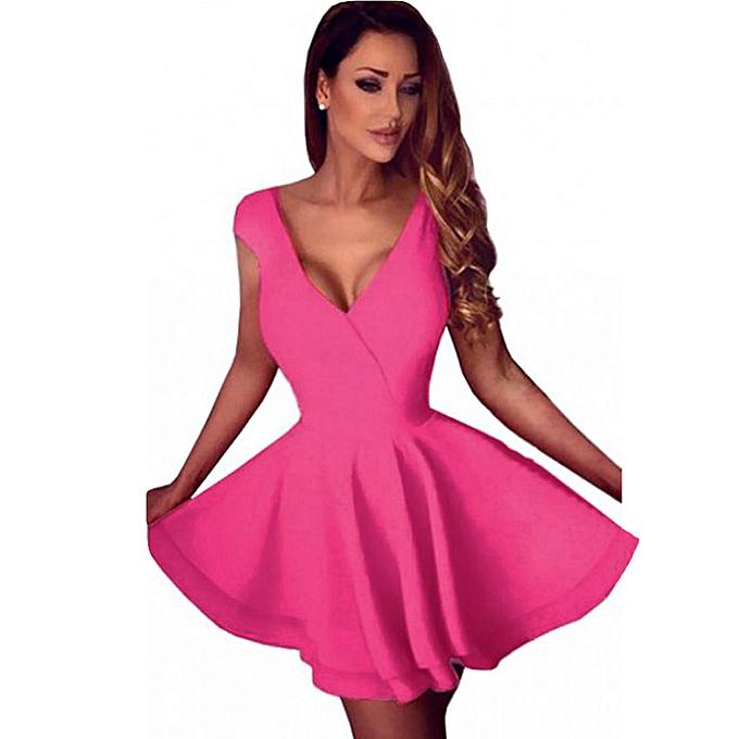 59d67a3db737 Women Mini Skater Dress Sexy Cocktail Dress Clubwear Backless V-Neck  Sleeveless Solid Dress Rose