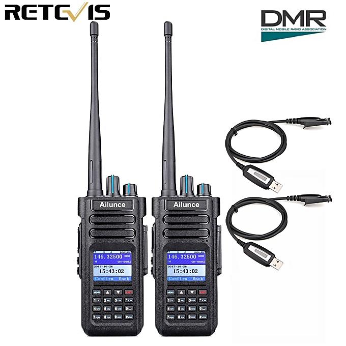 2pcs Ailunce HD1 Walkie Talkie Dual Band DMR Digital DCDM TDMA VHF UHF Ham  Radio Hf Transceiver + Program Cable AKESI