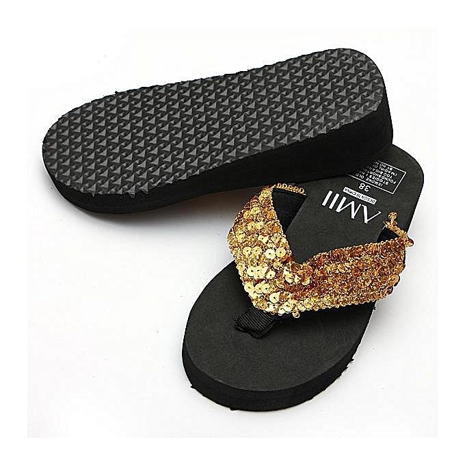 757de8d0af19f6 ... Women Ladies Summer Thick Wedge Bottom Sandals Flip Flops Beach Shoes  Slippers-EU ...
