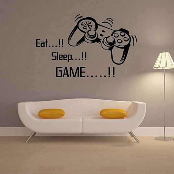 "buy generic creative art game handle wall stickers ""eat sleep game"