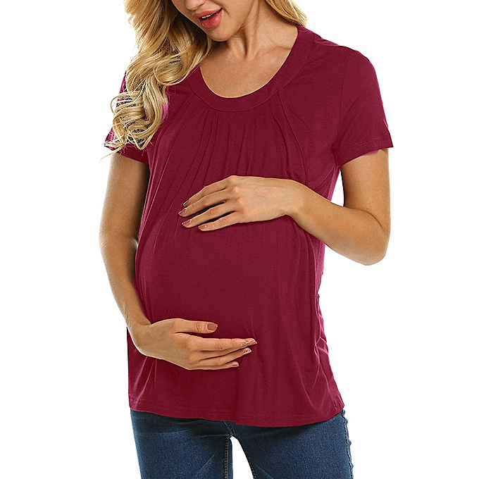 c090c733e38 Women Maternity Pregnancy Folding Nursing Baby Breastfeeding T-shirt Tops