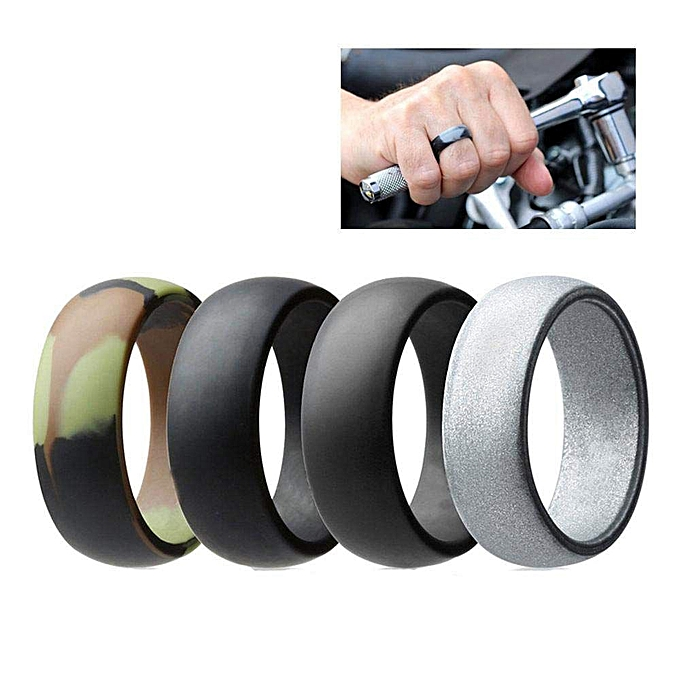 Rubber Wedding Rings.Silicone Rings For Men And Women Unisex Rubber Wedding Bands For Sports And Outdoor 4 Colors Pack Size 9