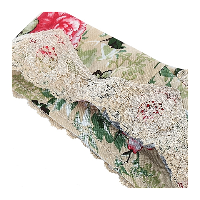 5dfb41b140 ... Women Plus Size Comfy Floral Printing Lace Wireless Bra Breathable No  Rim Vest Bras ...