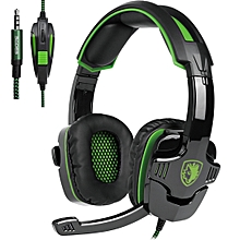 SA-930 3.5mm Gaming Headset Wired Headphone With Wire Control + Mic For PS4, PC, Laptop, Mobile Phones (Green)