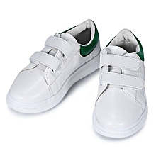 Girls Pu Leather Hook And Loop Patchwork Design Athletic Shoes - White+Green
