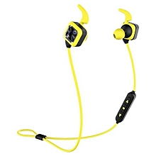Handfree headsets, KS Plus Bluetooth Earphone Wireless Sports Headphones Bass Stereo Earbuds With Ear Hook Mic Voice Prompt Handsfree Noise Reduction Sweatproof for Phone(Yellow)
