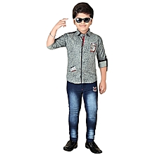 Boys Clothing Set of  Blue Denim Jeans & Green Cotton Shirt