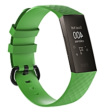Diamond Pattern Silicone Wrist Strap Watch Band for Fitbit Charge 3 (Green)