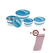 Set of 4 Pinnacle Palazio Hot Pot Serving Bowls + FREE Kitchen Cloth - Blue