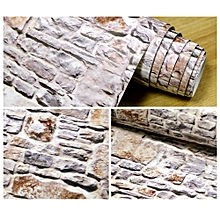 Fovibery Fashion 3D Wall Paper Brick Stone Rustic Effect Self-adhesive Wall Sticker Home Decor